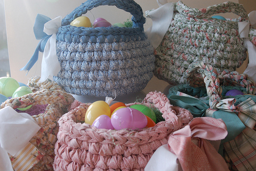 Easter Baskets with Crocheted Fabric