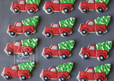 Bee In Our Bonnet Christmas Truck Cookies
