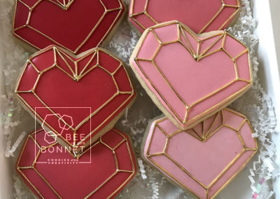 Bee In Our Bonnet Heart Cookies