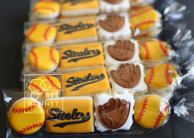 Bee In Our Bonnet Baseball Cookies
