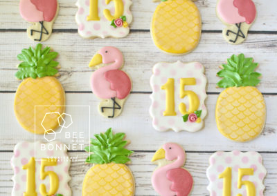 Bee In Our Bonnet Pineapple Flamingo Cookie