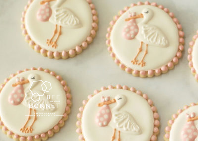Bee In Our Bonnet Stork Cookies